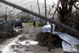 Downed paper lines and debris are seen in the aftermath of Hurricane Maria in Yabucoa, Puerto Rico, Tuesday, Sept. 26, 2017. (AP Photo/Gerald Herbert)