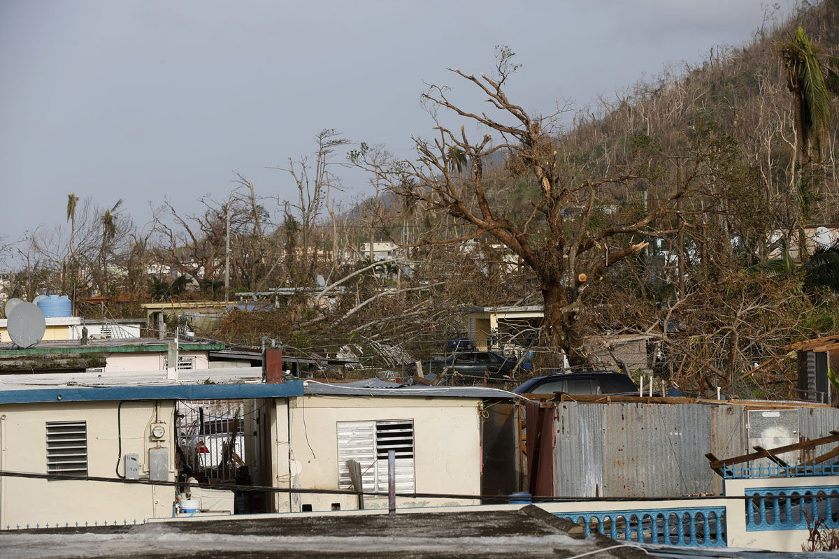 Damaged homes and trees are seen in the aftermath of Hurricane Maria, in Yabucoa, Puerto Rico, Tuesday, Sept. 26, 2017. Governor Ricardo Rossello and Resident Commissioner Jennifer Gonzalez, the island's representative in Congress, have said they intend to seek more than a billion in federal assistance and they have praised the response to the disaster by President Donald Trump, who plans to visit Puerto Rico next week, as well as FEMA Administrator Brock Long.  (AP Photo/Gerald Herbert)