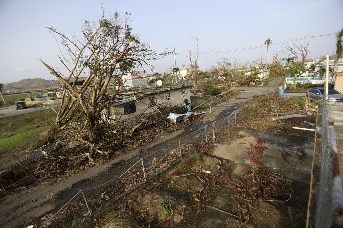 Destruction from Hurricane Maria in Yabucoa, Puerto Rico, Tuesday, Sept. 26, 2017. (AP Photo/Gerald Herbert)