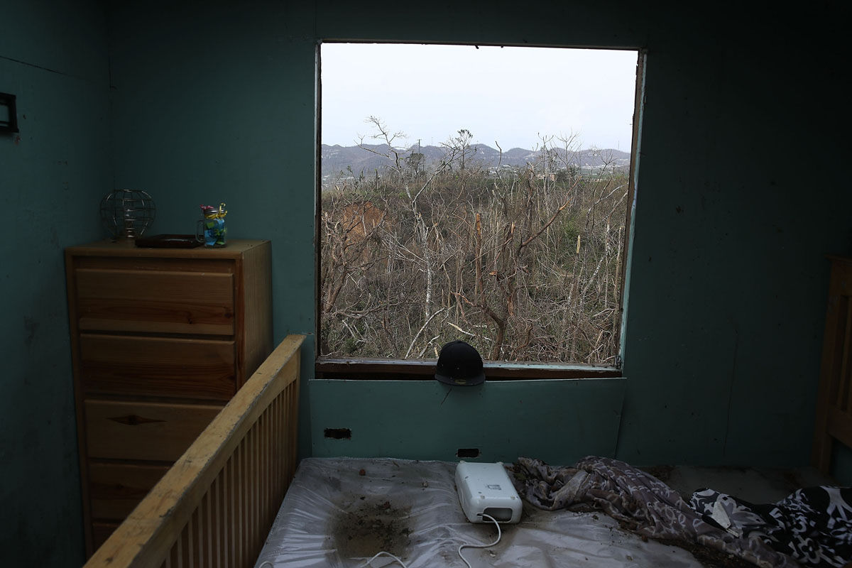 COROZAL, PUERTO RICO - SEPTEMBER 27:  Damages trees are seen from the window of a home that was destroyed when Hurricane Maria passed through on September 27, 2017 in Corozal, Puerto Rico.  Puerto Rico experienced widespread, severe damage including most of the electrical, gas and water grids as well as agricultural destruction after Hurricane Maria, a category 4 hurricane, passed through.  (Photo by Joe Raedle/Getty Images)