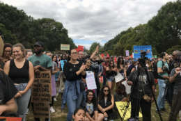 Demonstrators say they were motivated to rally by a resurgence of racial hate in the United States. Some carried signs with the names of black men shot to death in encounters with police.