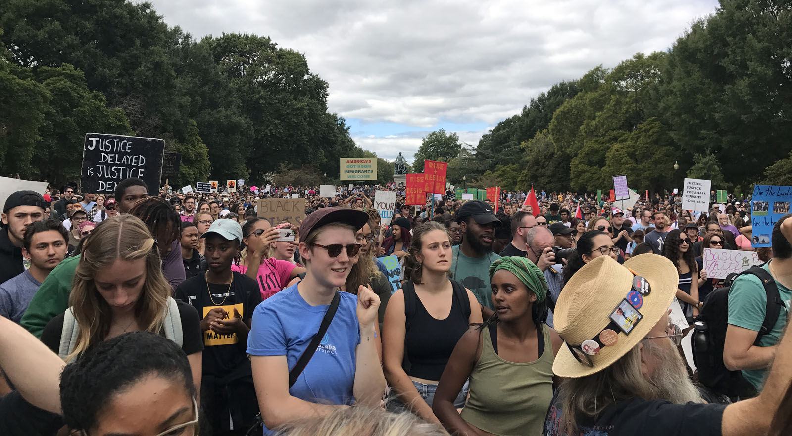 """""""This is about coming together in love and peace to ensure that people around the world know that Americans love one another,"""" said Maurice Cook, co-founder of the March for Racial Justice. (WTOP/Dick Uliano)"""