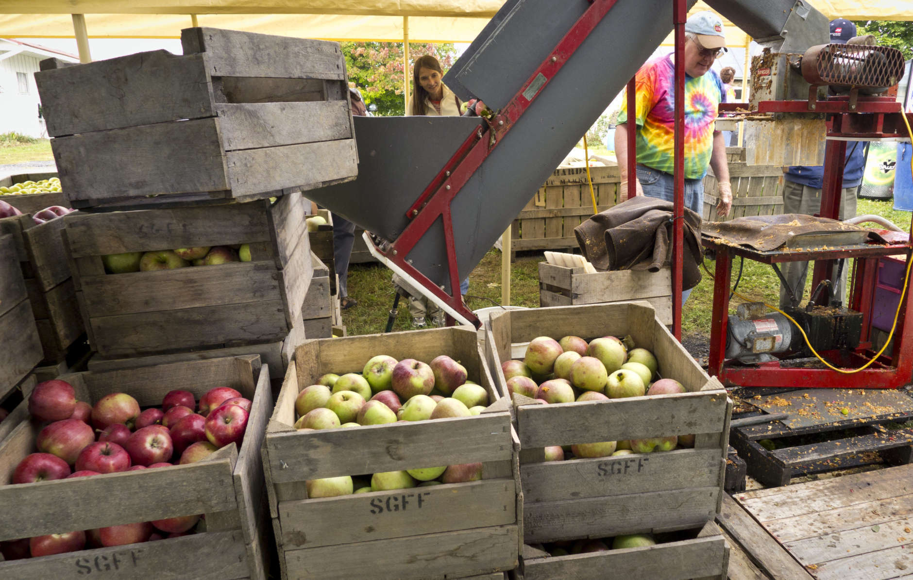 With the apple harvest at its peak in Virginia's Shenandoah Valley, red delicious and jonagolds are pressed for cider by Lynn West, right, at Hartland Orchard near Markham , Va., Saturday, Sept. 17, 2011. (AP Photo/J. Scott Applewhite)