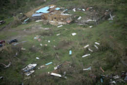 Devastated buildings from the island of Culebra, which suffered damages by the passage of Hurricane Irma, are seen form the air, in Puerto Rico, Thursday, Sept. 7, 2017. About a million people were without power in the U.S. territory after Irma passed just to the north, lashing the island with heavy wind and rain. Nearly 50,000 also were without water. (AP Photo/Carlos Giusti)