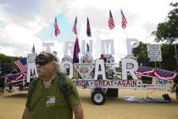 """People gather on the National Mall in Washington, Saturday, Sept. 16, 2017, to attend a rally in support of President Donald Trump in what organizers are calling 'The Mother of All Rallies."""" ( AP Photo/Jose Luis Magana)"""