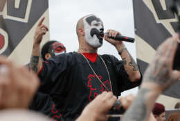 """Shaggy 2 Dope, a member of the rap group Insane Clown Posse, speaks to juggalos, as supporters of the group are known, in front of the Lincoln Memorial in Washington during a rally, Saturday, Sept. 16, 2017, to protest and demand that the FBI rescind its classification of the juggalos as """"loosely organized hybrid gang."""" (AP Photo/Pablo Martinez Monsivais)"""