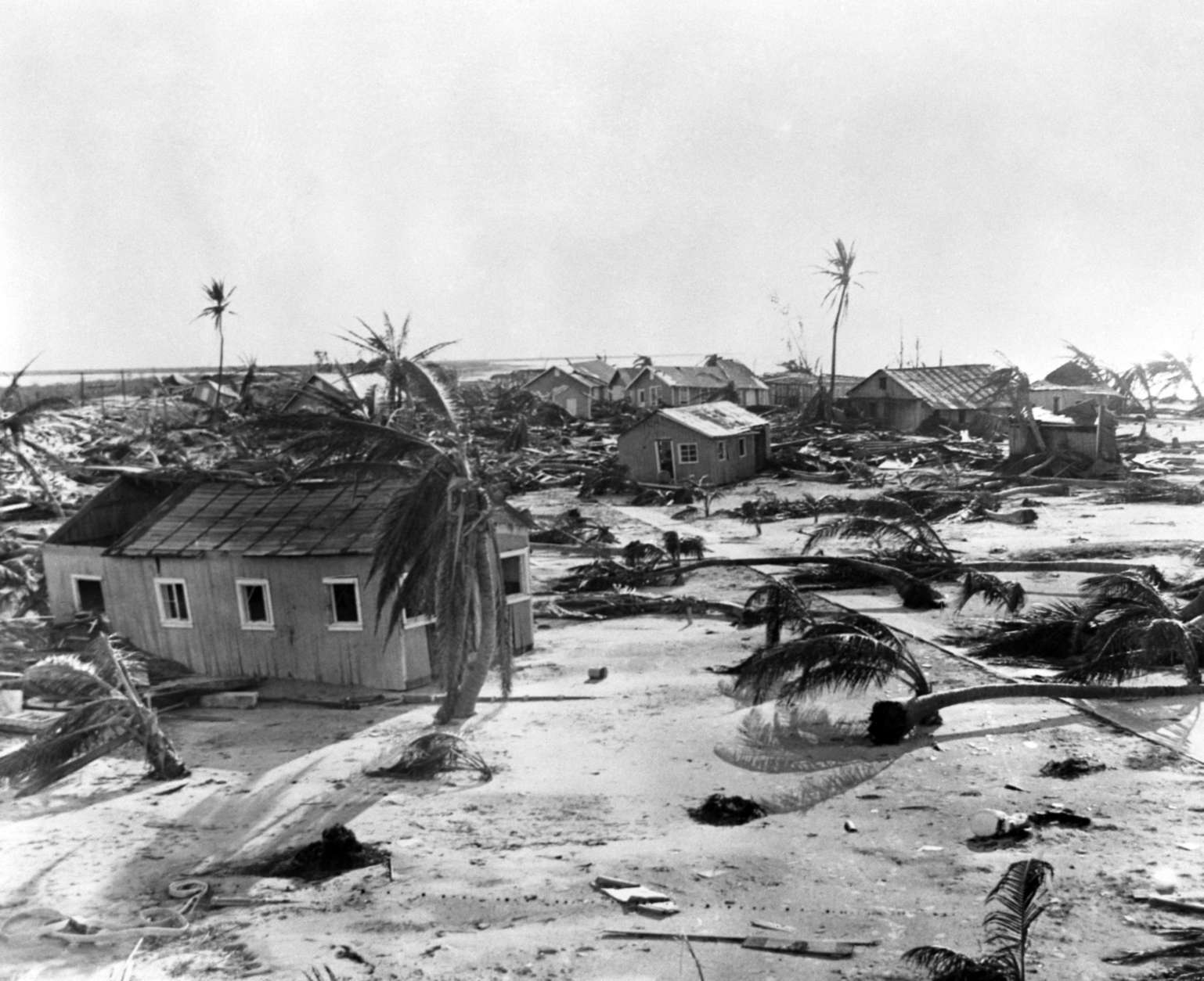 A typical scene at Long Key, Florida, USA, where wind with estimated velocity of 165 miles an hour swept the cluster of homes on September 15, 1935, destroying buildings and uprooting trees all before it leaving a trail of death in many parts of Florida. (AP Photo)