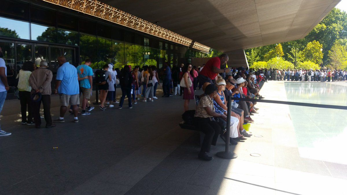 On it's one year anniversary, the National Museum of African American History and Culture saw many visitors during the two-day anniversary. (WTOP/Kathy Stewart)
