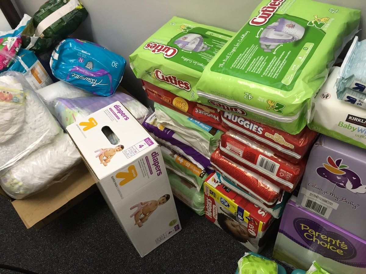 A local organization is taking in donations of feminine care products for women affected by Hurricane Harvey. (WTOP/Liz Anderson)