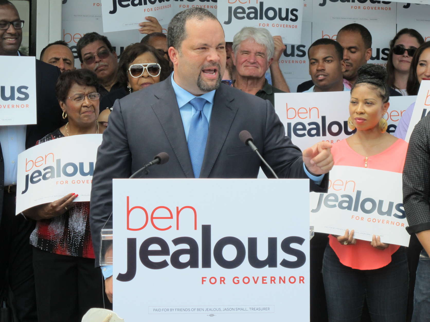 Former NAACP chairman Ben Jealous announces his campaign for governor of Maryland during a rally in Baltimore, Wednesday, May 31, 2017. Jealous wills seek the Democratic nomination. (AP Photo/Brian Witte)