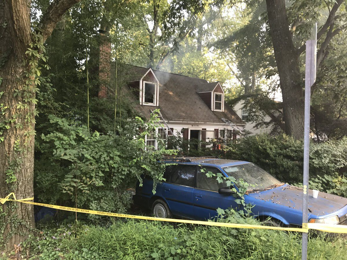 One man was able to escape from the house and indicated that his friend was still in the house. (Courtesy Montgomery County Fire and Rescue Service)