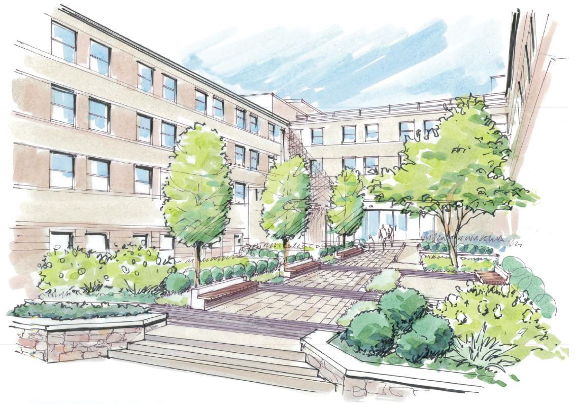 Carver Hall, at 211 Elm St. NW, is one of two Howard University dormitory buildings that will be converted into rental apartments. (Courtesy Urban Investment Partners)