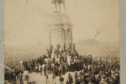 In this May 30, 1890 photo provided by the Virginia Historical Society, the statue of Confederate Gen. Robert E. Lee is unveiled on Monument Avenue in Richmond, Va. Some of the oldest and largest Confederate monuments in the U.S. tower over a four-lane road in Richmond, a city that may become the next ground zero in the fight over Civil War statues. (Virginia Historical Society via AP)