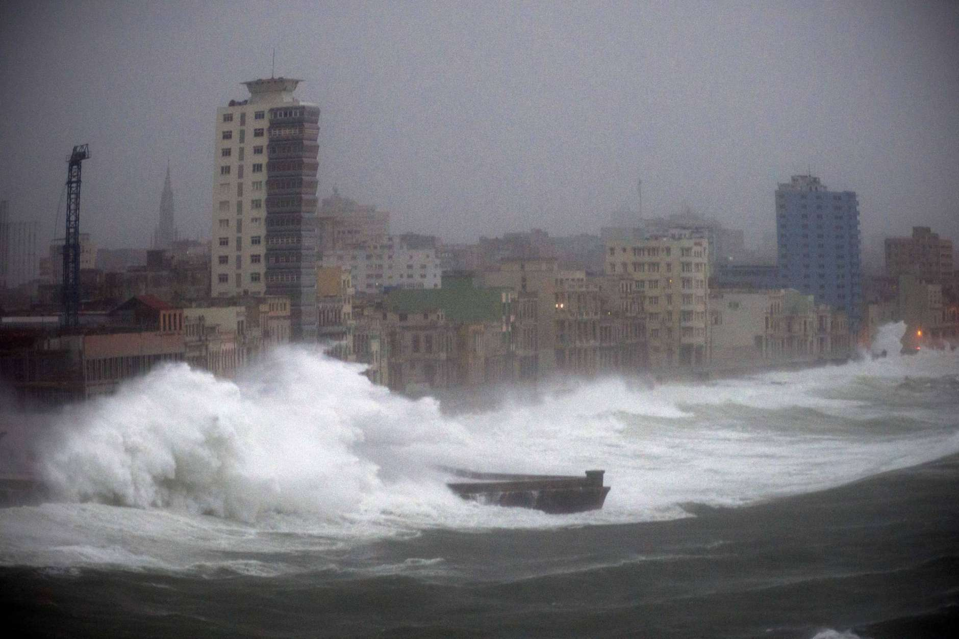 Strong waves brought by Hurricane Irma hit the Malecon seawall in Havana, Cuba, late Saturday, Sept. 9, 2017. (AP Photo/Ramon Espinosa)