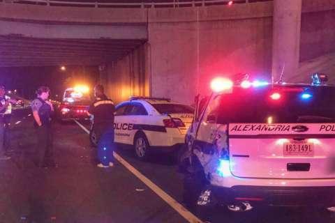 Vehicle strikes 2 Alexandria police cruisers on I-395