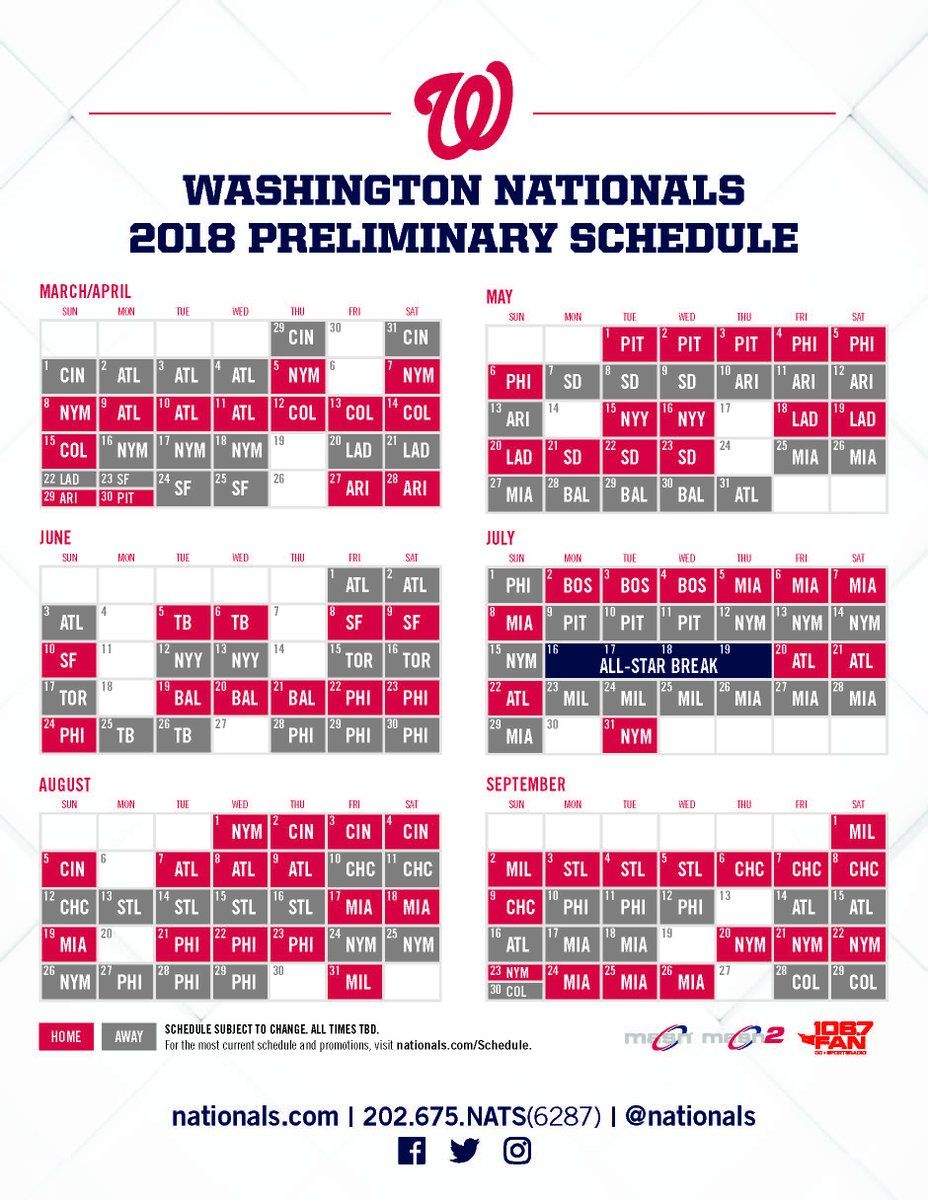 picture regarding Washington Nationals Printable Schedule known as Nationals launch 2018 plan WTOP