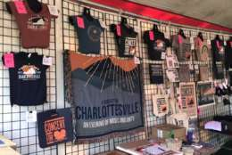 A look at the merchandise on sale. Net proceeds will be donated to the Concert for Charlottesville fund. (WTOP/Michelle Basch)