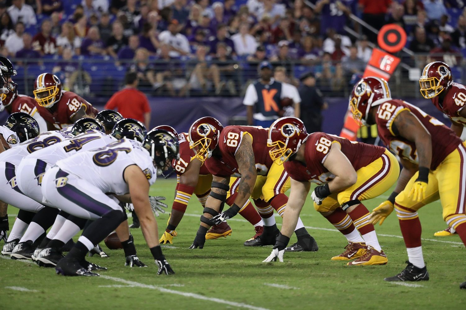 BALTIMORE, MD - AUGUST 10: The Baltimore Ravens offense lines up against the Washington Redskins defense during a preseason game at M&T Bank Stadium on August 10, 2017 in Baltimore, Maryland.  (Photo by Rob Carr/Getty Images)