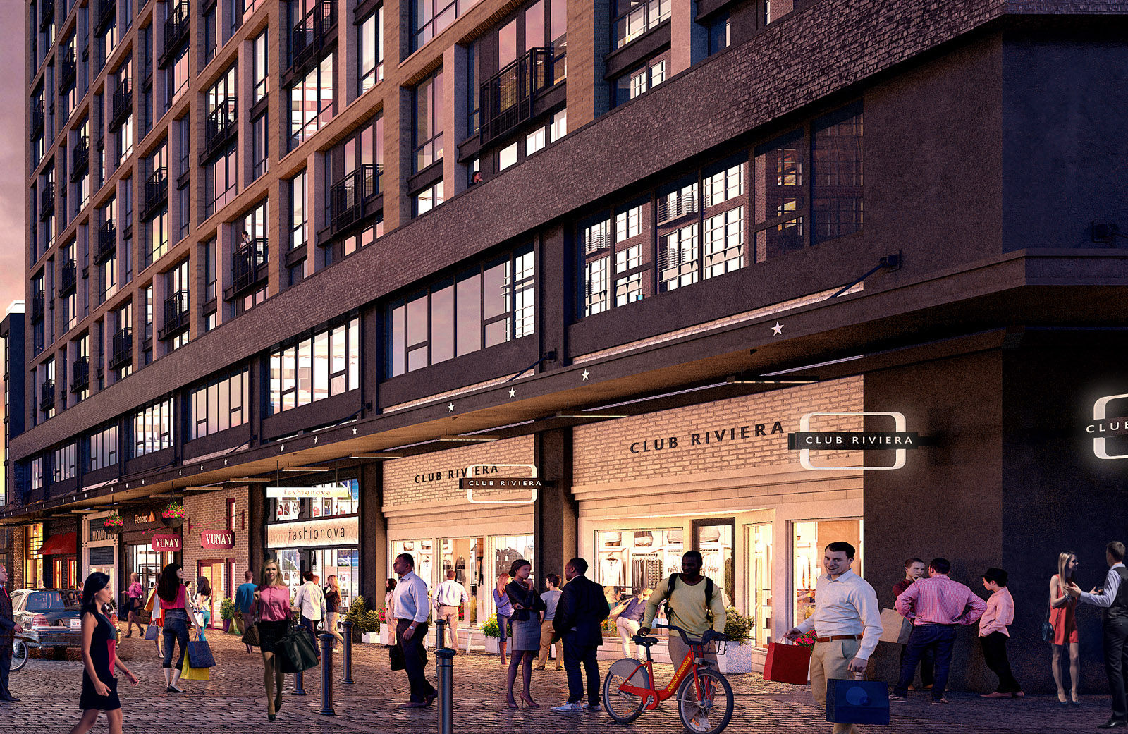 This artists rendering shows what District Square, lined with retail shops, will look like. Shopping options will run the gamut from services like dry cleaners and pharmacies for the nearly 2,000 residents who will live there, to boutiques and specialty stores like a French furniture stop. (Courtesy PN Hoffman)