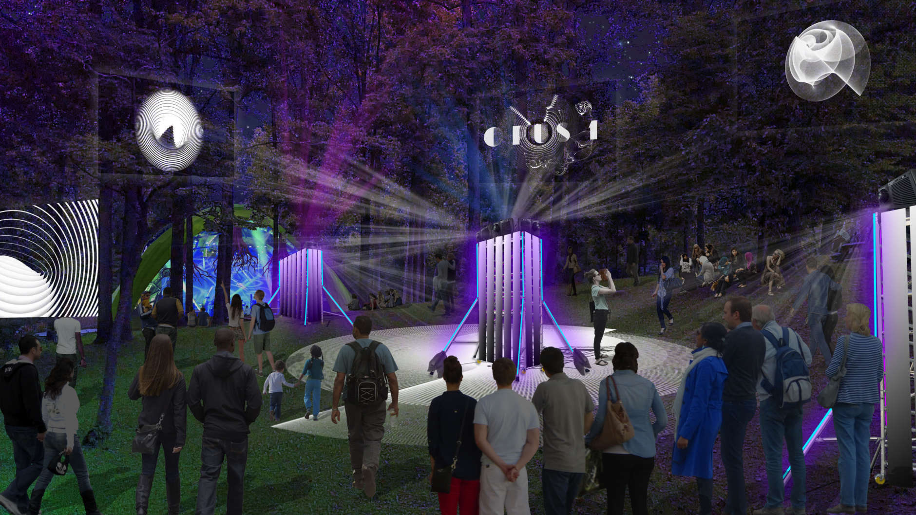 Merriweather Park at Symphony Woods will host the inaugural OPUS 1 festival, which comprises 11 large installations for all ages. (Rendering courtesy Wild Dogs International)