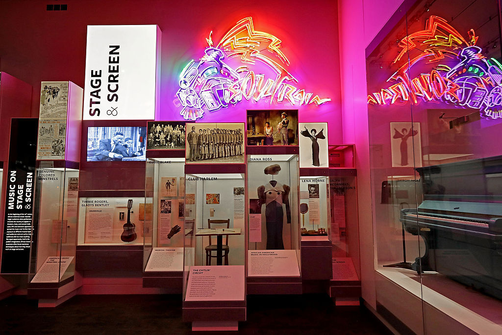 WASHINGTON, DC - SEPTEMBER 14:  Instruments, costumes and other artifacts fill the Taking the Stage section of the fourth floor Culture Galleries at the Smithsonian's National Museum of African American History and Culture during the press preview on the National Mall September 14, 2016 in Washington, DC. Filled with exhibits and artifacts telling the story of the first Africans in the United States and their descendents, the 400,000-square-foot museum will open to the public on September 24.  (Photo by Chip Somodevilla/Getty Images)