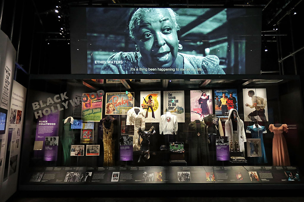 WASHINGTON, DC - SEPTEMBER 14:  Costumes, props, posters and other artifacts are on display in the Taking the Stage section of the fourth floor Culture Galleries at the Smithsonian's National Museum of African American History and Culture during the press preview on the National Mall September 14, 2016 in Washington, DC. Filled with exhibits and artifacts telling the story of the first Africans in the United States and their descendents, the 400,000-square-foot museum will open to the public on September 24.  (Photo by Chip Somodevilla/Getty Images)