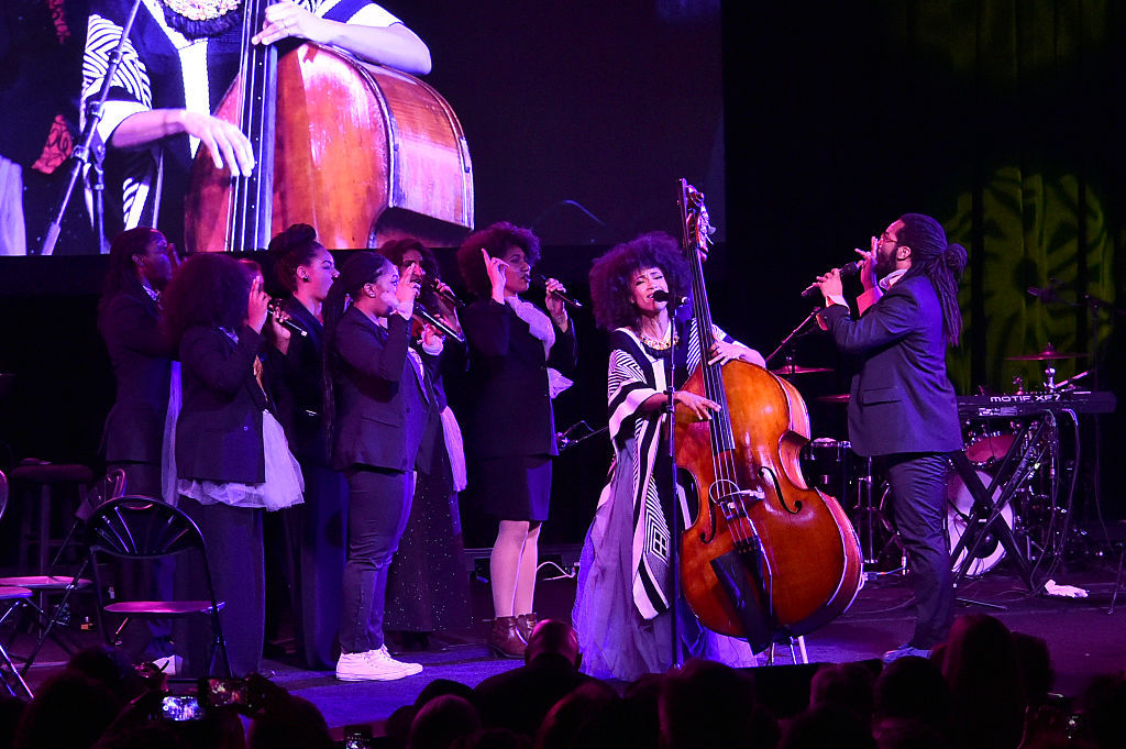 WASHINGTON, DC - JANUARY 19:  Bassist Esperanza Spalding performs onstage at the Busboys and Poets' Peace Ball: Voices of Hope and Resistance at National Museum Of African American History & Culture on January 19, 2017 in Washington, DC.  (Photo by Mike Coppola/Getty Images for Busboys and Poets)