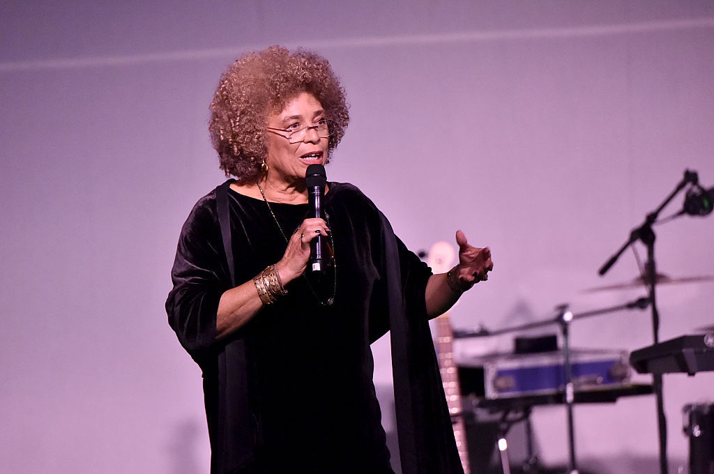 WASHINGTON, DC - JANUARY 19:  Politcal Activist Angela Davis speaks onstage at the Busboys and Poets' Peace Ball: Voices of Hope and Resistance at National Museum Of African American History & Culture on January 19, 2017 in Washington, DC.  (Photo by Mike Coppola/Getty Images for Busboys and Poets)