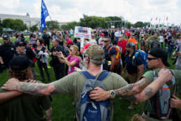 """WASHINGTON, DC - SEPTEMBER 16: Pro-Trump security forces try to keep people away on the National mall on September 16, 2017 in Washington, DC.   Organizers are calling the rally in support of President Donald Trump  """"The Mother of All Rallies"""",  President Trump is in New Jersey ahead of attending the U.N. General Assembly next week.  (Photo by Tasos Katopodis/Getty Images)"""