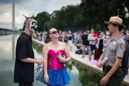 WASHINGTON, DC - SEPTEMBER 16: People gather for a rally during the Juggalo March, at the Lincoln Memorial on the National Mall, September 16, 2017 in Washington, DC. Fans of the band Insane Clown Posse, known as Juggalos, are protesting their identification as a gang by the FBI in a 2011 National Gang Threat Assessment. (Photo by Al Drago/Getty Images)