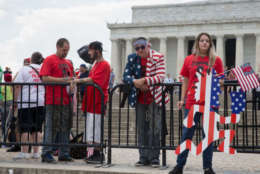 WASHINGTON, DC - SEPTEMBER 16:  People gather for a rally during the Juggalo March at the Lincoln Memorial on the National Mall, September 16, 2017 in Washington, DC. Fans of the band Insane Clown Posse, known as Juggalos, are protesting their identification as a gang by the FBI in a 2011 National Gang Threat Assessment.   (Photo by Tasos Katopodis/Getty Images)