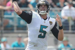 JACKSONVILLE, FL - SEPTEMBER 17:  Blake Bortles #5 of the Jacksonville Jaguars looks to pass the football during the first half of their game against the Tennessee Titans at EverBank Field on September 17, 2017 in Jacksonville, Florida.  (Photo by Logan Bowles/Getty Images)