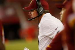 TAMPA, FL - AUGUST 31:  Head coach Jay Gruden of the Washington Redskins looks on from the sidelines during the second quarter of an NFL preseason football game against the Tampa Bay Buccaneers on August 31, 2017 at Raymond James Stadium in Tampa, Florida. (Photo by Brian Blanco/Getty Images)