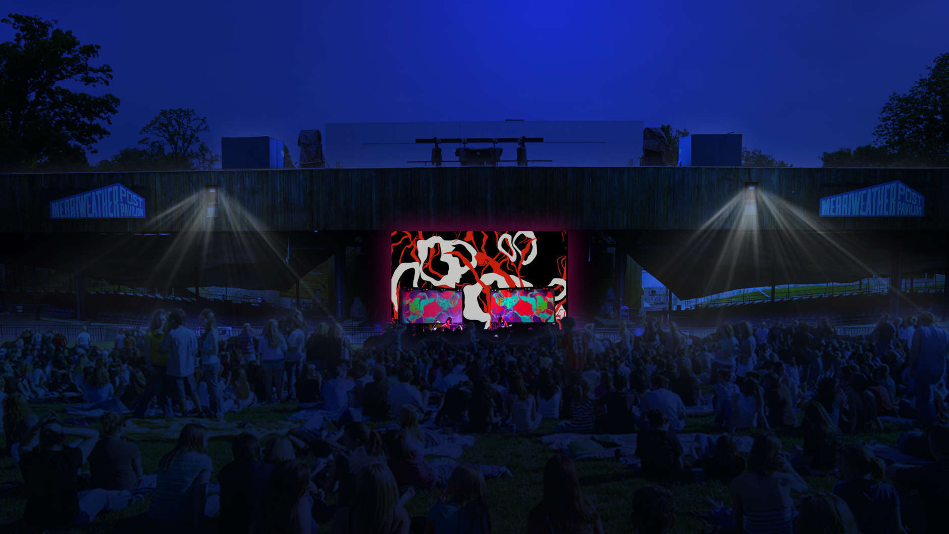 The tree-filled space around Merriweather Post Pavilion offers greater creative potential to artists who already think outside the figurative box, saidKen Farmer of Wild Dogs International,OPUS 1's curator and producer.(Rendering courtesy of Wild Dogs International)