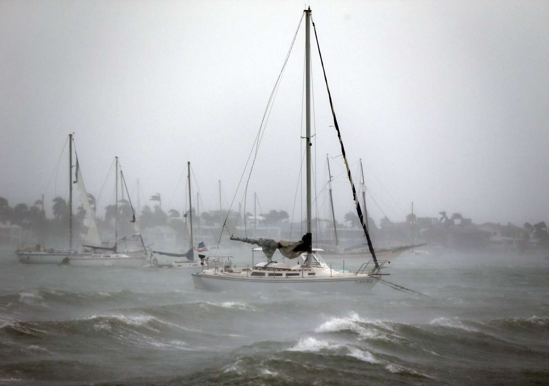 Sailboats moored near Watson Island ride out the winds and waves as Hurricane Irma passes by, Sunday, Sept. 10, 2017, in Miami Beach, Fla. (AP Photo/Wilfredo Lee)