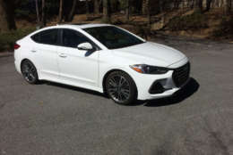 Looks are important for sportier versions of compact cars and Hyundai gave the Elantra Sport a little makeover. It's not a huge difference from other Elantra models but it's a little bolder with a unique front grill and lower fascia which gives it a more aggressive face. (WTOP/Mike Parris)