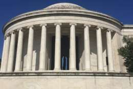 A view of the biofilm on the exterior of the Jefferson Memorial. (Courtesy National Park Service)