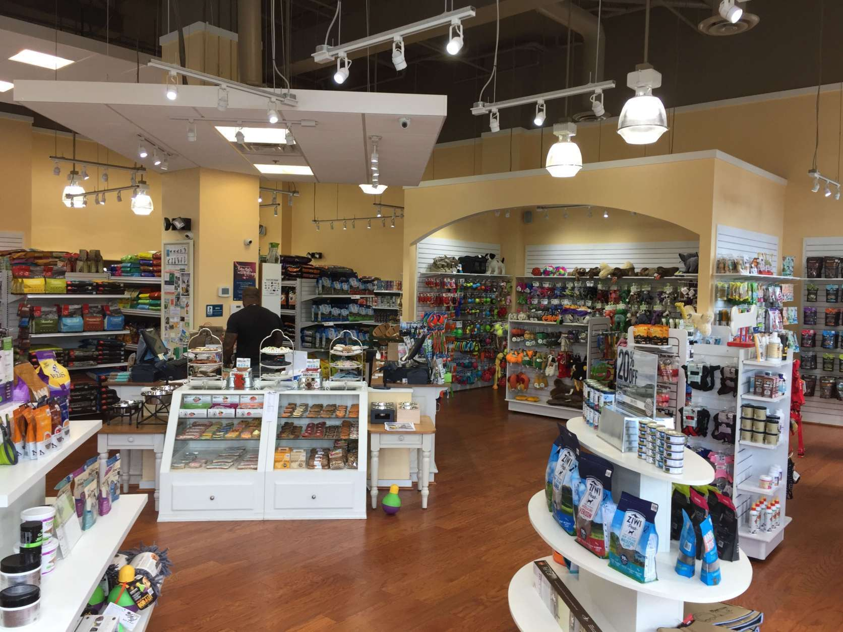 A leash, freeze-dried food (for dogs) and anxiety pills are among the items recommended by Kriser's Natural Pet in Northwest D.C. (WTOP/Rich Johnson)