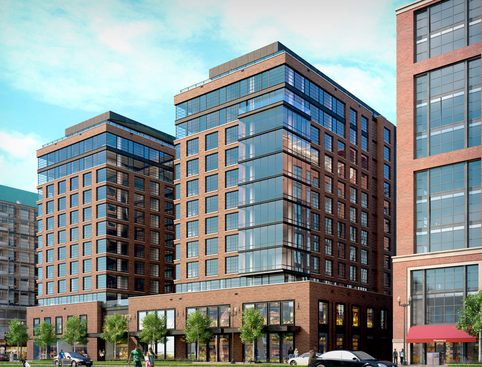 This artists rendering shows the planned Incanto apartment building, which will have 148 units, a fitness center and lounge, courtyard and front desk concierge and on-site staff. (Courtesy  Hoffman-Madison Waterfront)