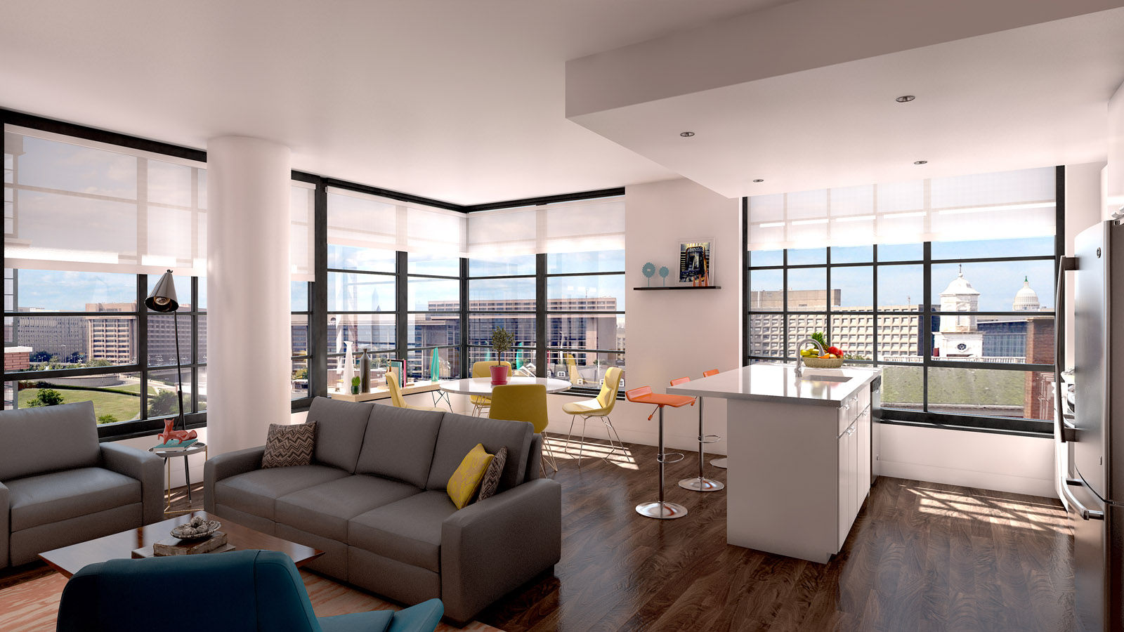 This image shows the interior of one of the units inside Incanto Apartments, one of two apartment buildings constructe as part of the mile-long redevelopment of the Southwest Waterfront, called The Wharf. Two condo buildings were also built. As many as 2,000 people will live in the 900 new housing units. (Courtesy PN Hoffman)