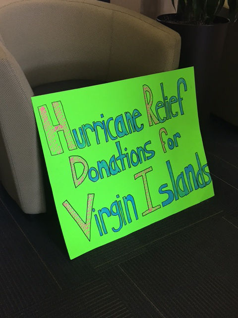 A sign advertising a collection drop-off location set up by Virgin Islands relief in Philadelphia. (Courtesy Ben Steed)