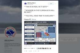 This tweet provided by the National Weather Service shows some of the fearful words being used to get people to warn people about Hurricane Irma and shock them into action, just as they did last month for Hurricane Harvey. (National Weather Service via AP)