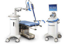 The Medrobotics Flex Robotic System for colorectal surgery has control handles for the surgeon to use that are similar to the function that it is performing. For example, scissor-like handles control the robot's cutting mechanism. (Courtesy George Washington University)