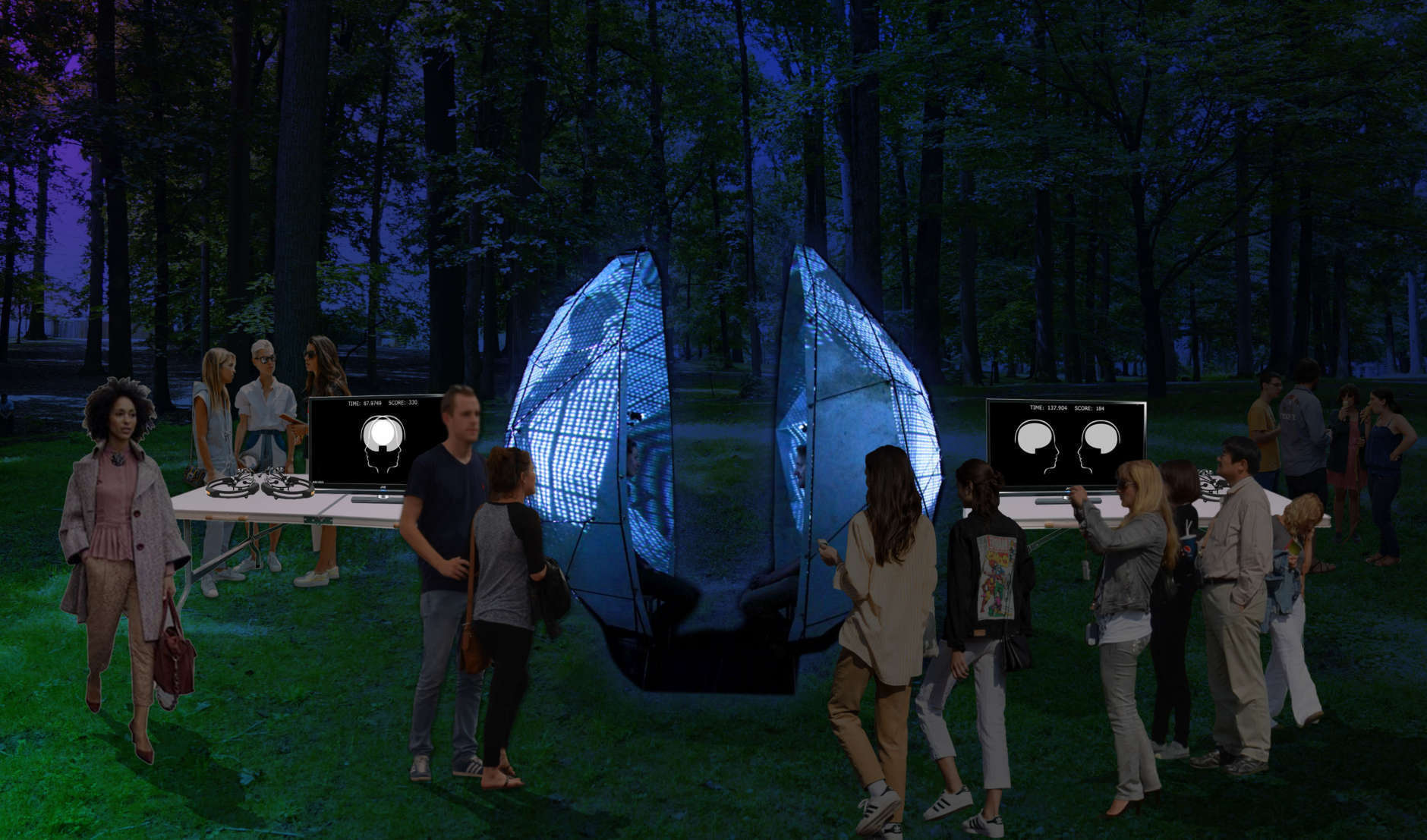 "The Mutual Wave Machine, is an interactive neurofeedback installation by Suzanne Dikker that organizers said ""embodies the elusive notion of 'being on the same wavelength' with another person through brainwave synchronization."" (Rendering courtesy Wild Dogs International)"