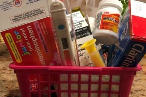 The old pink basket, aka the medicine cabinet