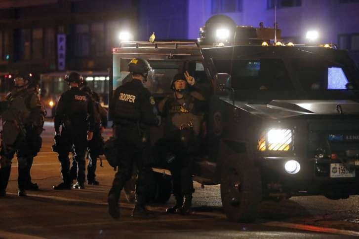 St Louis anti-police protests turn chaotic