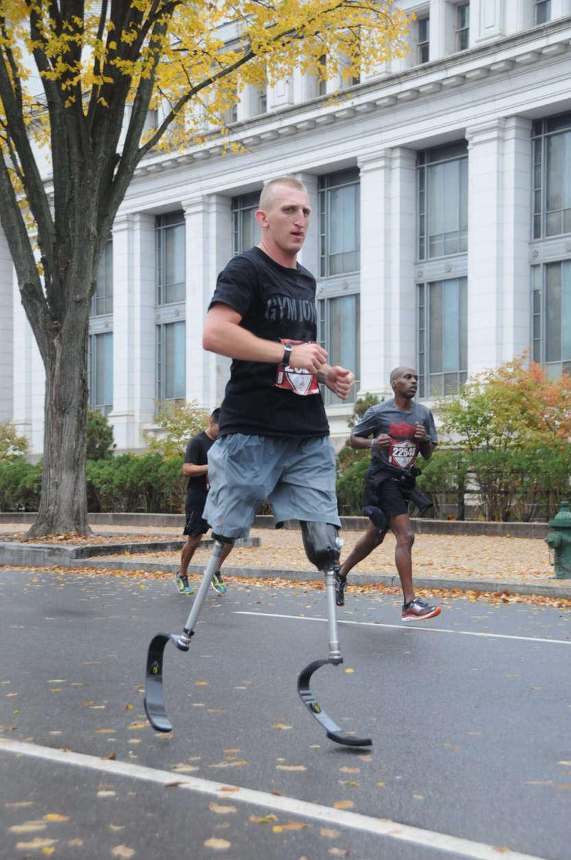 Rob Jones is pictured here running the Marine Corps Marathon in 2015.  (Courtesy Rob Jones Journey)