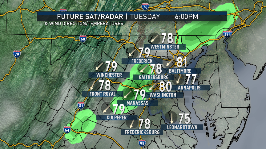 Also from the RPM computer model, we can see the increasing cloud cover as we go through midweek. The model does produce a few light scattered showers and drizzle Tuesday afternoon and evening, right on the fringe of Maria's circulation. The breeze may pick up a bit, too, Tuesday night into Wednesday. Heavier rains and winds are unlikely to make it farther northwest than the Outer Banks or Hampton Roads. Note the clouds and the easterly winds keeping temperatures from being as close to 90 as we were over the weekend. (Data: The Weather Company. Graphics: Storm Team 4)