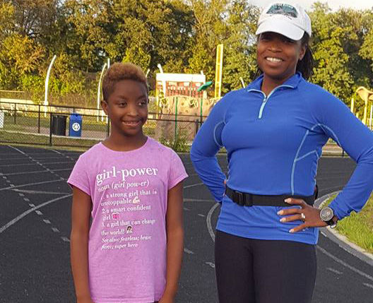 Savannah Williams and her mother, Shameen Anthanio-Williams, at a nearby track. (Courtesy Shameen Anthanio-Williams)
