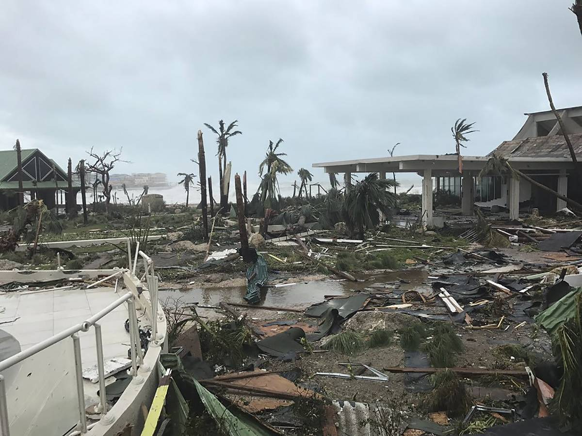 This Sept. 6, 2017 photo shows storm damage in the aftermath of Hurricane Irma in St. Martin. Irma cut a path of devastation across the northern Caribbean, leaving thousands homeless after destroying buildings and uprooting trees. Significant damage was reported on the island known as St. Martin in English which is divided between French Saint-Martin and Dutch Sint Maarten. (Jonathan Falwell via AP)